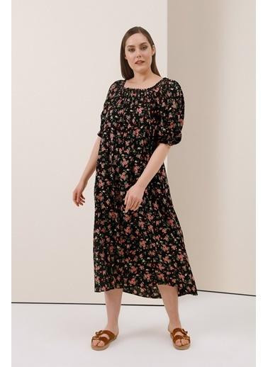Gusto Çiçekli Uzun Viskon Elbise - Siyah Çiçekli Uzun Viskon Elbise - Siyah Siyah